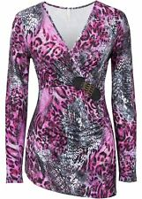 Shirt m tiefem Ausschnitt Gr 32/34 Leopard Lila Damenshirt Top Bluse Tunika Neu`