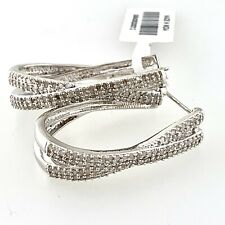 Sterling Silver Pave Diamonds Hoop X Earrings (1.5 ct. t.w