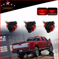 """3x Round 3/4"""" Red LED Auxiliary Truck Trailer Stop Turn Brake Tail Marker Lights"""