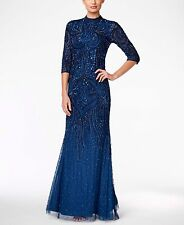 adrianna papell mock turtleneck beaded gown, deep blue RRP £280 UK 8