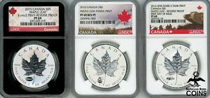 Lot of 3: 2015-2016 Canada $5 Silver (.999) 1oz Maple Leaf NGC PF69 w/Diff Privy