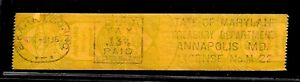 HICK GIRL-USED U.S. STATE REVENUE     1936  MARYLAND METER TAX STAMP       A1