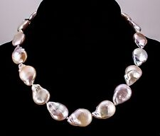 Pastel Lavendar Pearl Necklace Natural Freshwater Drip Pearls 14K Gold Clasp iDu