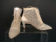 Touch-Ups 7.5 M Sheer Lace LaceUp  Booties Heels MAde in USA