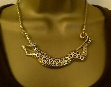 Leopard necklace antique gold snake chain statement
