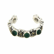 .925 Sterling Silver Green Onyx & Marcasite Gemstone Flower Adjustable Toe Ring