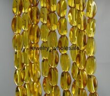 20pcs Brown Glass Twist Oval Charms Spacer Beads 10x6mm