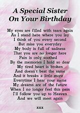 Sister On Your Birthday Memorial Graveside Poem Card With Free Ground Stake F204