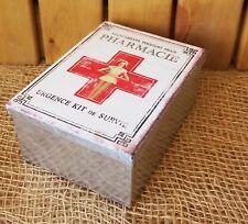 French Vintage Retro Red & White Metal 1st First Aid Pharmacie Storage Tin Box