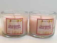 LOT 2 BATH BODY WORKS CRANBERRY PEAR BELLINI FILLED SCENTED 1.3 OZ MINI CANDLES