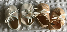 """2 Pairs Vintage Baby / Doll Shoes Beige Mrs Days Ideal and White Satin Blue 4"""""""