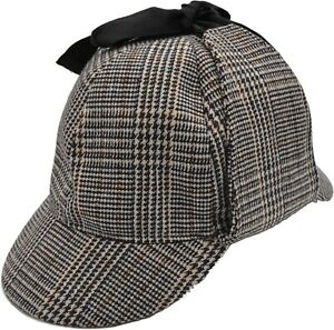Wool Blend Tweed  Sherlock Holmes Deerstalker Hunting Drop Ear Flaps Hat In UK
