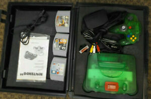 Jungle Green Nintendo 64 N64 Set Console System 3 GAMES + HARD PLASTIC CASE!!