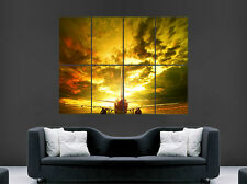 AEROPLANE JET POSTER RUNWAY SUNSET RUNWAY CLOUDS AVIATION IMAGE LARGE WALL