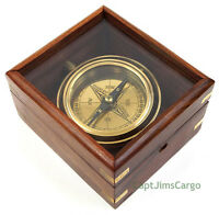 "Brass Lifeboat Gimbal Ship Compass 4.5"" Display Case Decorative Nautical Gift"