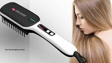 White Electric Hair Straightening Brush Comb with Curved Edge LCD Styling