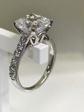2.5ct cushion cut delicate diamond solitaire engagement ring real 18k white gold