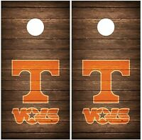Tennessee Vols Vintage Wood Cornhole Board Decal Wrap Wraps (brown)