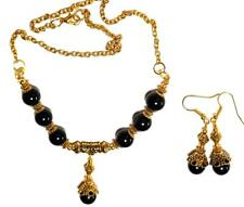 New listing GOLD NECKLACE EARRING SET Black unique gypsy vintage antique style boho prom