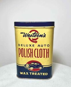 Vintage WESTERN'S Auto Polish Cloth ADVERTISING TIN w LID & USED CLOTH
