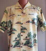 Hawaiian Aloha Shirt Size Large Palm Trees Tiki Hut Outrigger Canoe USA Hawaii