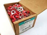"Box of 200 Panduit PV8-12R-TY Vinyl Crimp Ring Terminals 8 AWG 1/2"" Stud Hole"