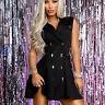 By Alina Mexton Damen Kleid Minikleid Blazer Kleid Tunika Partykleid XS-M