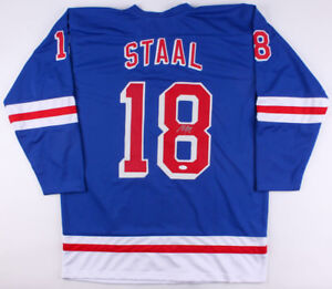 Marc Staal Signed Rangers Jersey (JSA Hologram) Ready for Framing