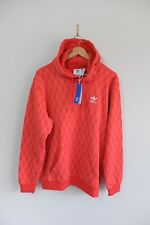 New Adidas Originals All over print monogram pullover hoody M Red Sweater BNWT