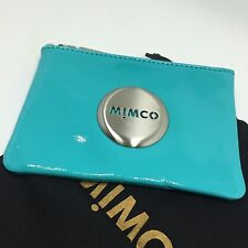 BNWT MIMCO Medium MIM POUCH WALLET TURQUOISE SILVER PATENT LEATHER