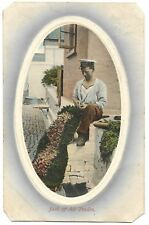 Sailor makes a rug using rags vintage Postcard  - 1910 - Jack of all trades
