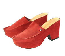 Robert Clergerie Red Suede Platform Square Toe Clogs Heels Shoes $575 Size 8 AA