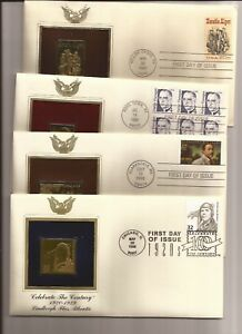 U.S.- Famous People-(21) Gold-Surfaced Stamp Replica Cachets/FDCs