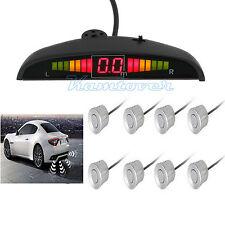 Car 8 Front Rear Reverse Backup Parking Sensors Kit Buzzer Alarm Silver AU POST