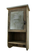 Scratch & Dent Rustic Reclaimed Wood Wall Cabinet w/Shelf and Hooks 20 in.