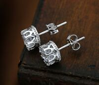 1Pair Clear Crystal Rhinestone Silver Plated Crown Ear Stud Earrings Jewelry New