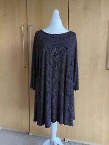 Tu Black Polka Dot Jersey Tunic Swing Stretch Dress Top Plus Size 26