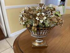 Jane Hutchinson Gorham Enamel & Beaded Floral Bouquet, Limoges Pot