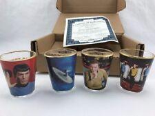 set of 4 STAR TREK Shot Glass Collection By: Bradford Exchange