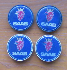 4 x GENUINE SAAB ALLOY WHEEL CENTRE HUB CAPS 12802437