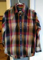 Sale Wrangler Sz M Plaid Pearl Snap Western Long Sleeve Shirt Mens MS1025M