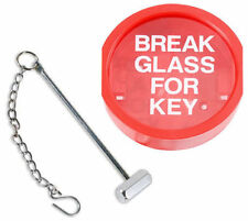 Break Glass Plastic Fronted Emergency Fire Alarm Key Box + Hammer and Chain
