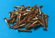 "50 Solid Brass Countersunk Slotted Wood Screws 4g x 3/4"" British Made"