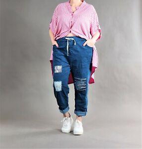 ♦ 2 Farben Jeans-Hose EG 44-52/54 hell/dunkel, Pailletten, Spitze, blau ♦