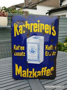 1920s Kathreiners Malzkaffee Enamel Sign Advertising Porcelain 55 x 40cm