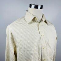 Eton Mens 17 36 Classic Fit Luxury European Dress Shirt Beige Striped Cotton