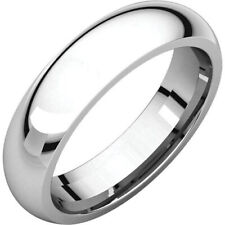 5mm 14K Solid White Gold Plain Dome Half Round Comfort Fit Wedding Band Ring