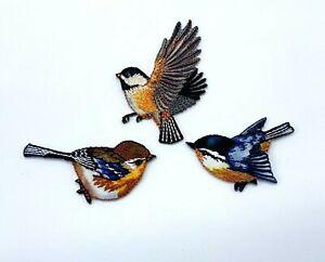 Bird patch small garden blue tit iron on sew on nature bird love gift applique