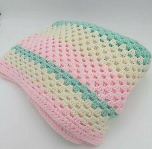 "Crochet Blanket - Pink -White -Turquoise - Handmade - 5'-2"" x 5' 2"" - Excellent!"