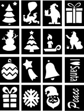 CHRISTMAS Glitter Tattoo Stencils, GREAT DESIGNS, Pack of 32 stencils